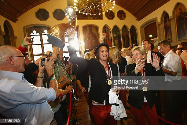 Nadine Angerer and head coach Silvia Neid during the celebration of the Women's team of Germany at Kaisersaal on July 29 2013 in Frankfurt am Main...