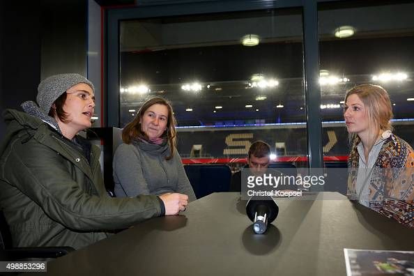 Nadine Angerer and winner Sabrina Stiemert and Stephanie Schwehm during the Meet and Greet of the Fanclub Nationalmannschaft prior to the Women's...