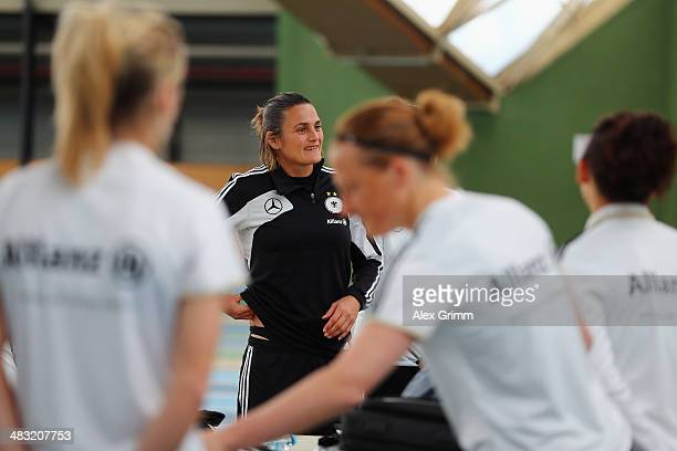 Nadine Angerer and team mates prepare for a Germany women's national team performance test on April 7 2014 in Mannheim Germany