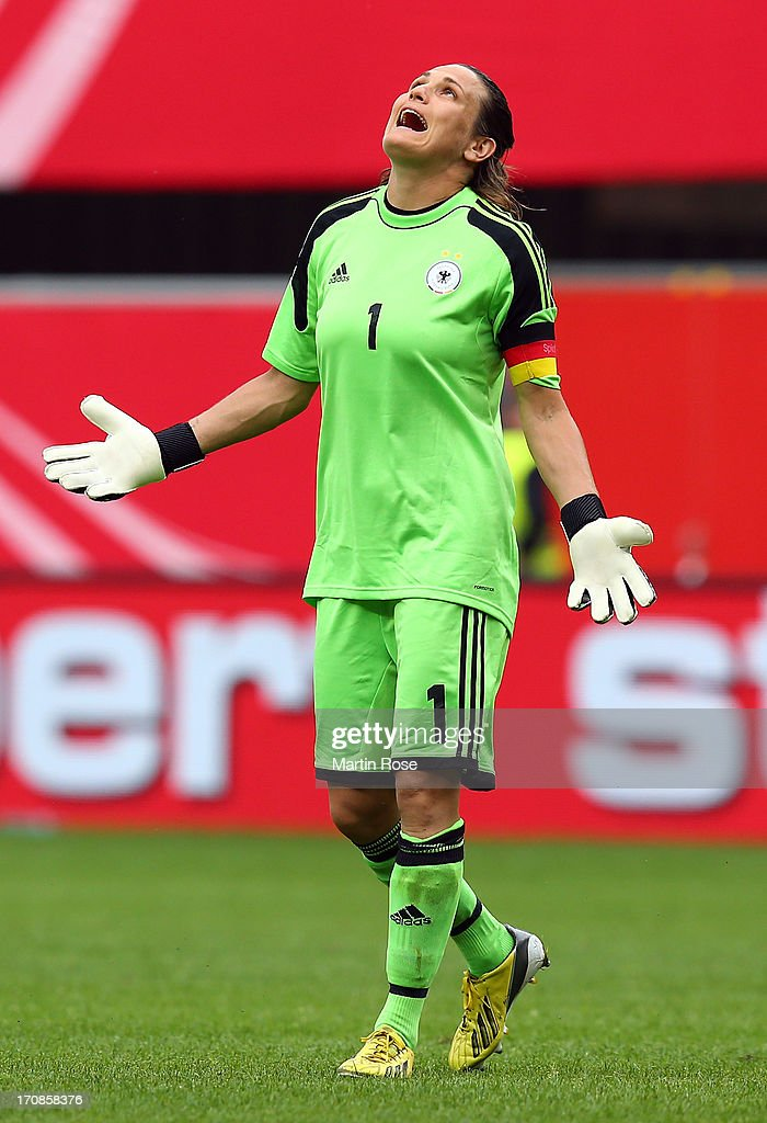 Nadine Angerer, goaltkeeper of Germany celebrates reacts during the Women's International Friendly match between Germany and Canada at Benteler Arena on June 19, 2013 in Paderborn, Germany.