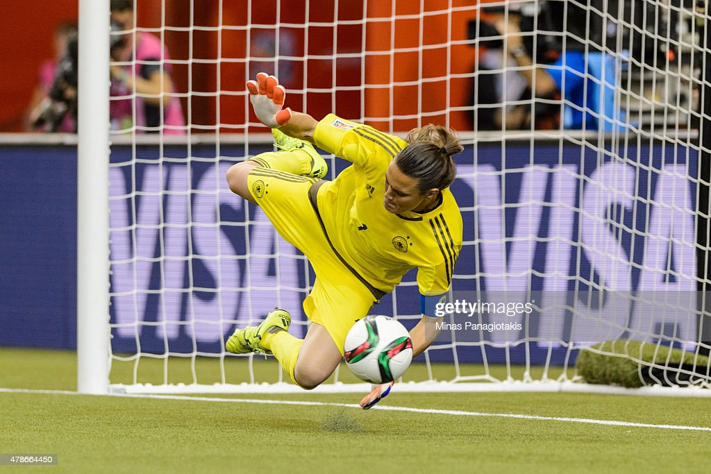 Nadine Angerer #1 of Germany makes a save on a penalty kick and helps eliminate France during the 2015 FIFA Women's World Cup quarter final match at Olympic Stadium on June 26, 2015 in Montreal, Quebec, Canada. Germany defeated France 5-4 on penalty kicks and move to the semifinal round.