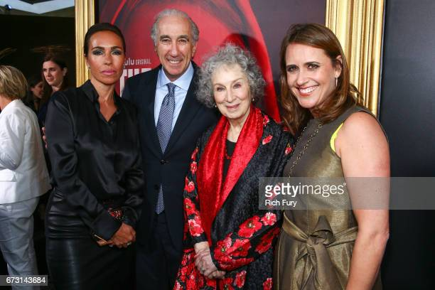 Nadine Barber CEO of MGM Gary Barber author Magaret Atwood and MGM Executive VP of Television Production Lindsay Sloane attend the premiere of Hulu's...