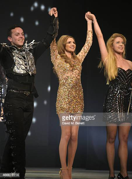 Nadine Coyle and cast bow at the curtain call during the Gala Performance of 'Lord Of The Dance Dangerous Games' at The Dominion Theatre on March 17...