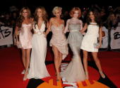 Nadine Coyle Kimberly Walsh Sarah Harding Nicola Roberts and Cheryl Cole arrive at the Brit Awards 2009 at Earls Court on February 18 2009 in London...