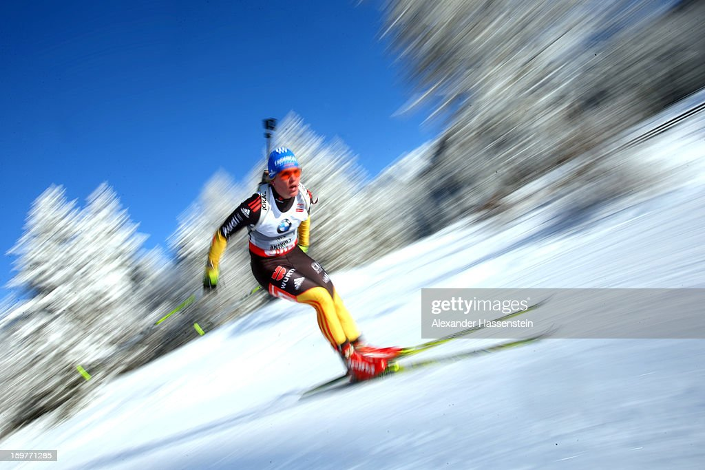 Nadine Horchler of Germany during the women's 7,5km sprint event during the IBU Biathlon World Cup at Suedtirol Arena on January 17, 2013 in Antholz-Anterselva, Italy.