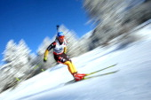 Nadine Horchler of Germany during the women's 75km sprint event during the IBU Biathlon World Cup at Suedtirol Arena on January 17 2013 in...