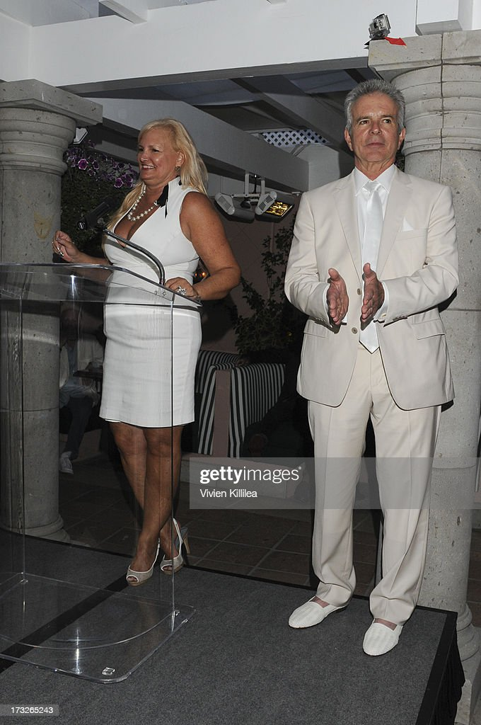 Nadine Jolson of Jolson Creative and Tony Denison attend Gen:A And Michael Hogg Presents The Summer Soiree Of Season And The Agenostic Man Book Launch at Beverly Hills Hotel on July 10, 2013 in Beverly Hills, California.