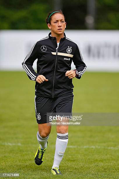 Nadine Kessler is seen during the German women's national team training session at HVB Club Sportzentrum on June 25 2013 in Munich Germany