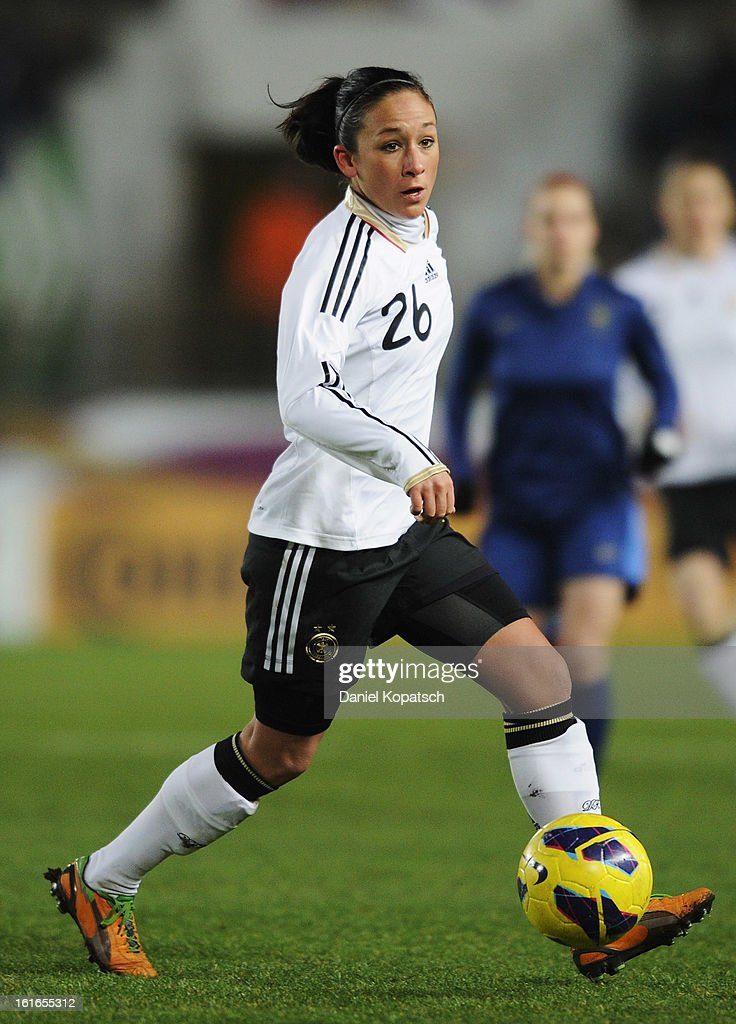 Nadine Kessler of Germany controles the ball during the international friendly match between France and Germany at Stade de la Meinau on February 13, 2013 in Strasbourg, France.