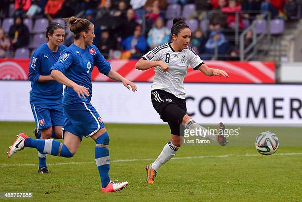Nadine Kessler of Germany scores his teams fourth goal during the FIFA Women's World Cup 2015 Qualifier between Germany and Slovakia at Osnatel Arena...