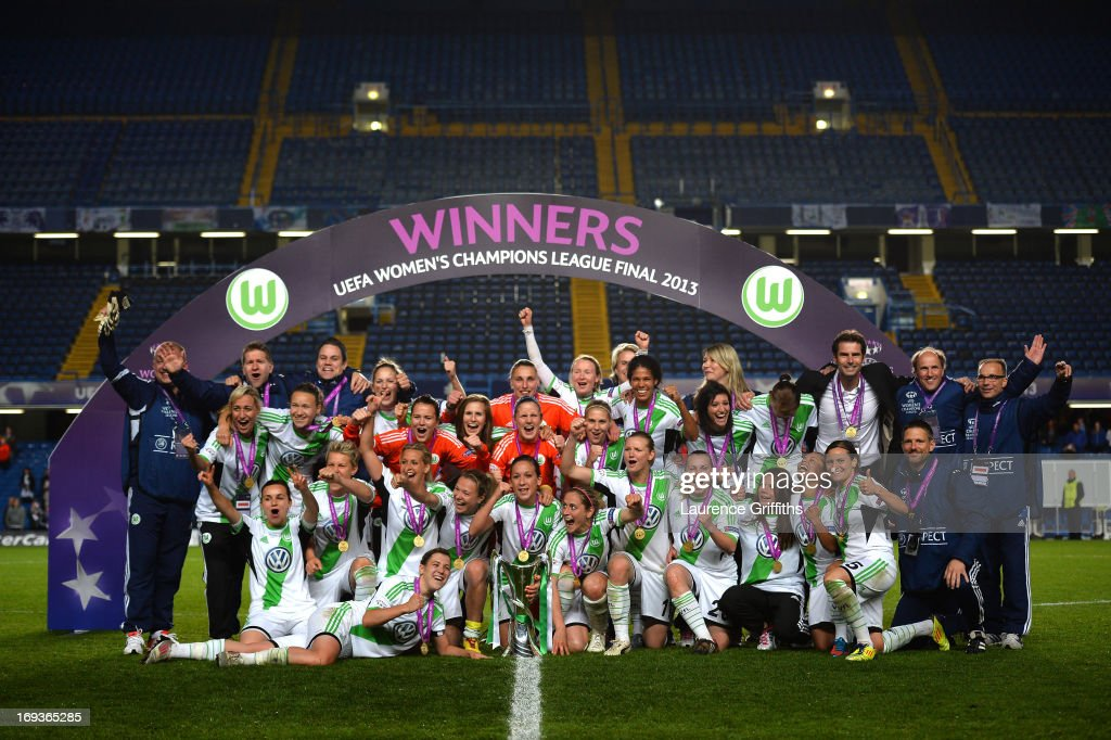 <a gi-track='captionPersonalityLinkClicked' href=/galleries/search?phrase=Nadine+Kessler&family=editorial&specificpeople=683339 ng-click='$event.stopPropagation()'>Nadine Kessler</a> of VfL Wolfsburg and her team mates pose with the trophy after victory in the UEFA Women's Champions League Final Match between VfL Wolfsburg and Olympique Lyonnais at Stamford Bridge on May 23, 2013 in London, England.