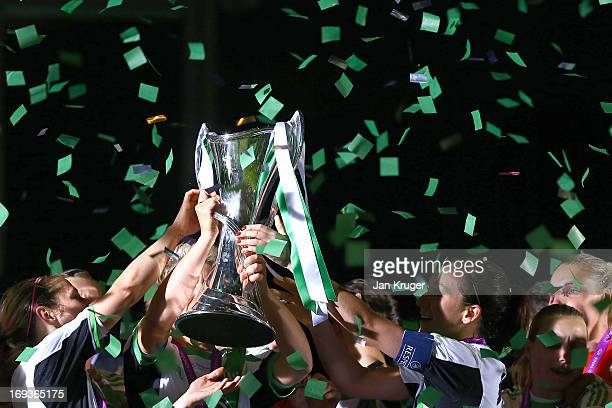 Nadine Kessler of VfL Wolfsburg and teammates celebrate with the trophy after winning the UEFA Women's Champions League final match between VfL...