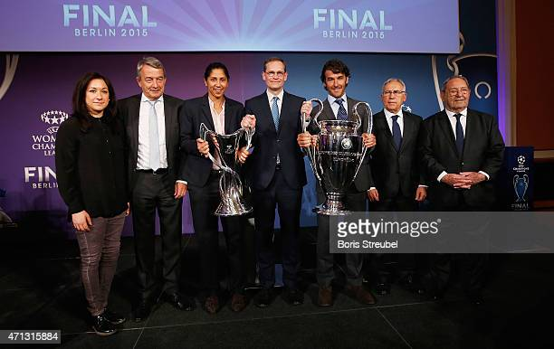 Nadine Kessler of VfL Wolfsburg Wolfgang Niersbach president of German Football Association and UEFA Committee member Steffi Jones UEFA Women's...