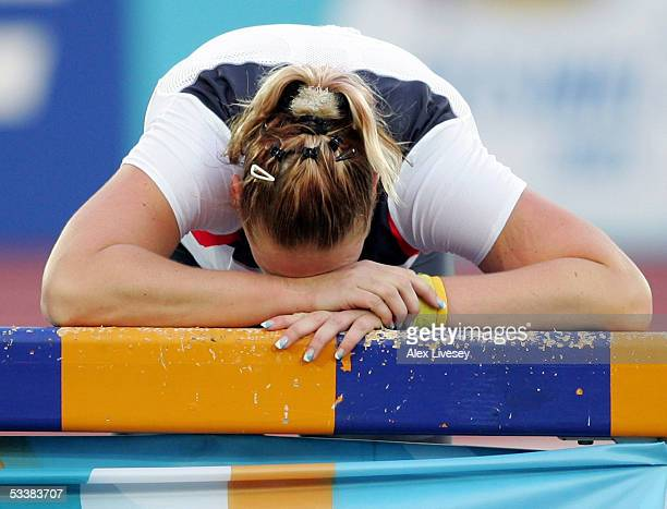 Nadine Kleinert of Germany reacts after the women's Shot Put final at the 10th IAAF World Athletics Championships on August 13 2005 in Helsinki...