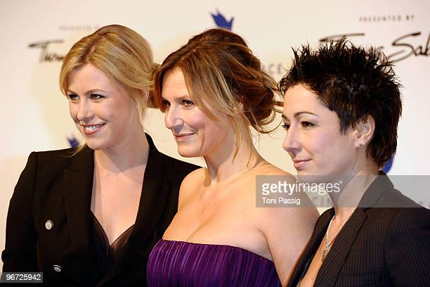 Nadine Krueger Kim Fisher and Dunja Hajali attend the Annual Cinema For Peace Gala during day five of the 60th Berlin International Film Festival at...