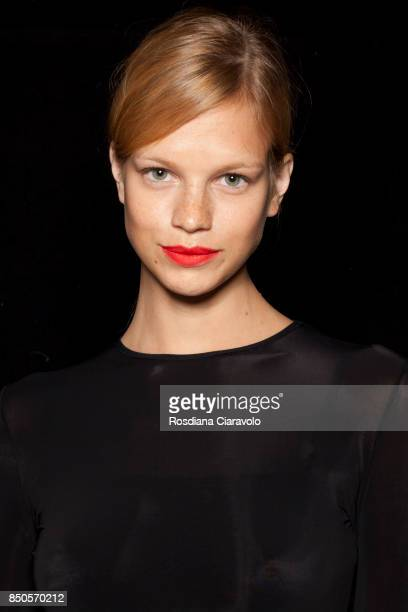 Nadine Leopold is seen backstage ahead of the Max Mara show during Milan Fashion Week Spring/Summer 2018on September 21 2017 in Milan Italy