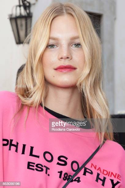Nadine Leopold is seen backstage ahead of the Philosophy By Lorenzo Serafini show during Milan Fashion Week Spring/Summer 2018 on September 23 2017...