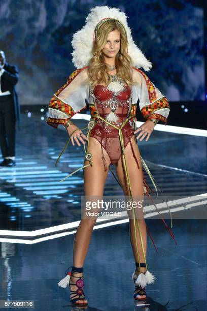 Nadine Leopold walks the runway at the 2017 Victoria's Secret Fashion Show In Shanghai Show at MercedesBenz Arena on November 20 2017 in Shanghai...
