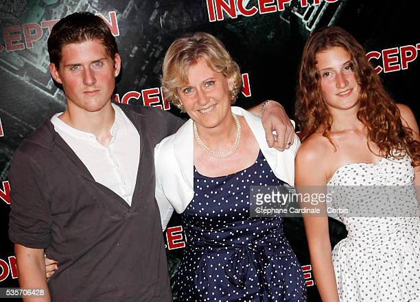 Nadine Morano and son Gregoire and daughter Eleonore attend the Premiere of 'Inception' in Paris
