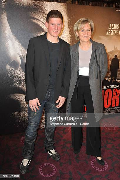 Nadine Morano with her son Gregoire attend the premiere of 'L'Immortel' in Paris