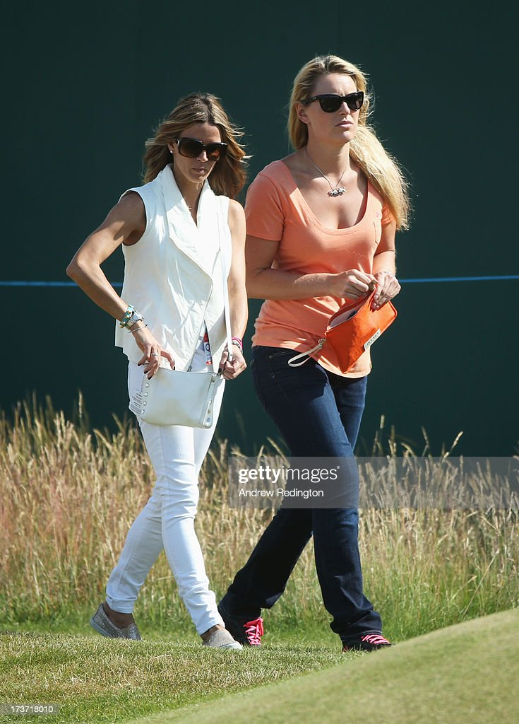 Nadine Moze and skier Lindsey Vonn talk ahead of the 142nd Open Championship at Muirfield on July 17, 2013 in Gullane, Scotland.