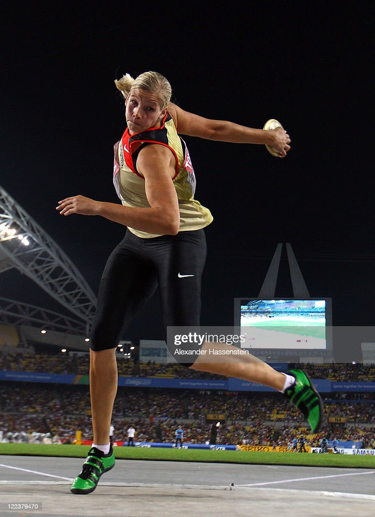 <a gi-track='captionPersonalityLinkClicked' href=/galleries/search?phrase=Nadine+Mueller&family=editorial&specificpeople=4454411 ng-click='$event.stopPropagation()'>Nadine Mueller</a> of Germany competes in the women's discus throw final during day two of the 13th IAAF World Athletics Championships at the Daegu Stadium on August 28, 2011 in Daegu, South Korea.