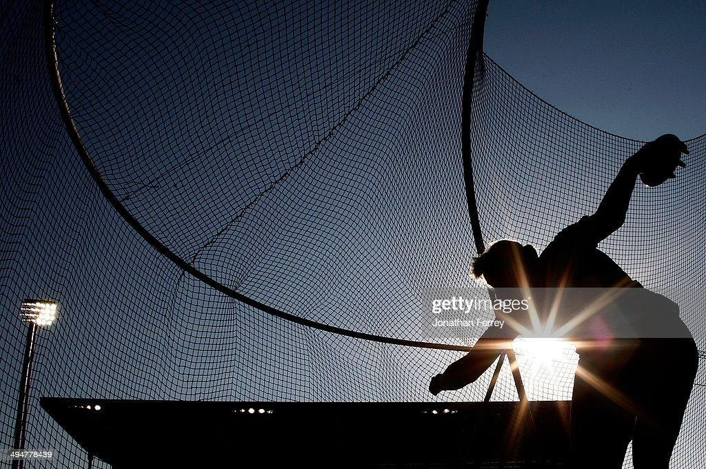 Nadine Muller of Germany competes in the discus during day 1 of the IAAF Diamond League Nike Prefontaine Classic on May 30, 2014 at the Hayward Field in Eugene, Oregon.
