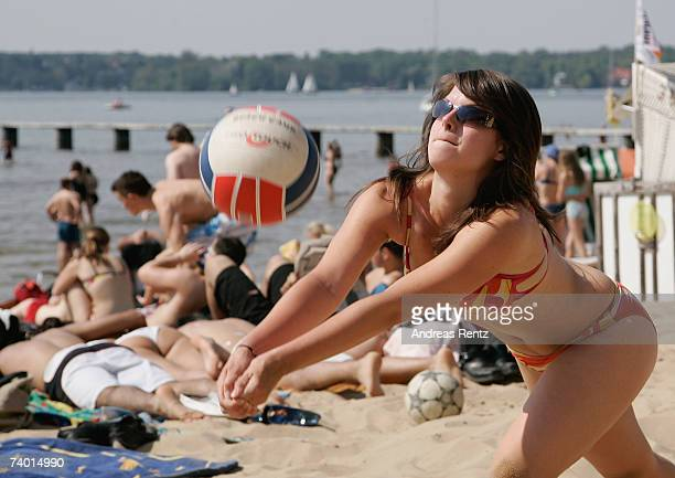 Nadine of Berlin plays volleyball at the beach of the Strandbad Wannsee on April 28 2007 in Berlin Germany According to weather forcasts the unusual...