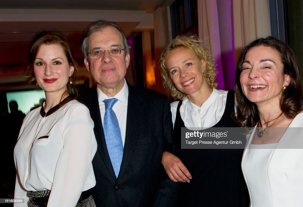 Nadine Schori, Maurice Gourdault-Montagne, Katja Riemann and guest attend the 'Soiree Francaise Du Cinema' at the French embassy on February 12, 2013 in Berlin, Germany.