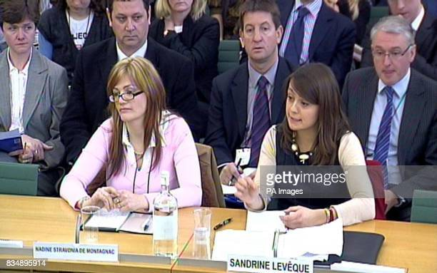 Nadine Stravonia de Montagnac and Sandrine Leveque give evidence to the Culture Media and Sport select committee in the House of Commons London who...