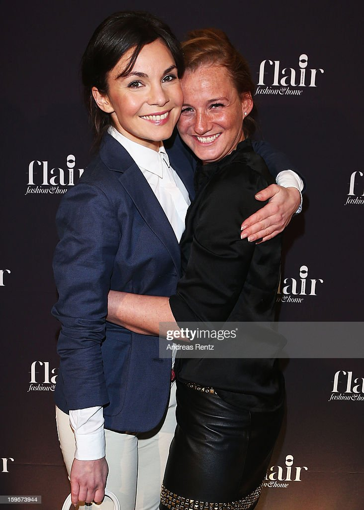 Nadine Warmuth and Jenny Falckenberg attend Flair Magazine Party at Pariser Platz 4 on January 15, 2013 in Berlin, Germany.