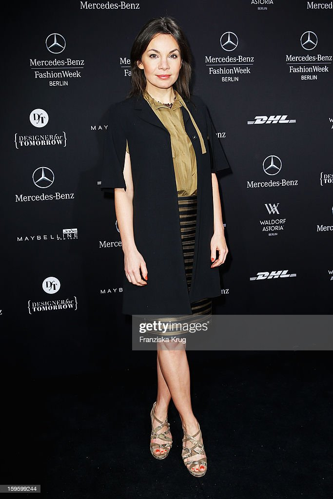 Nadine Warmuth attends Schumacher Autumn/Winter 2013/14 Fashion Show during Mercedes-Benz Fashion Week Berlin at Brandenburg Gate on January 17, 2013 in Berlin, Germany. on January 17, 2013 in Berlin, Germany.