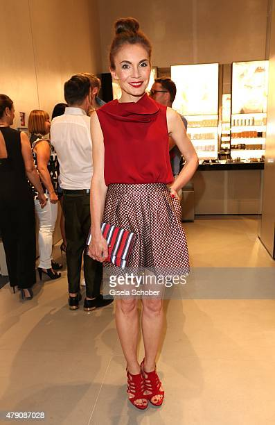 Nadine Warmuth wearing Armani during the Emporio Armani Sounds event in connection with the reopening of the store on June 30 2015 in Munich Germany