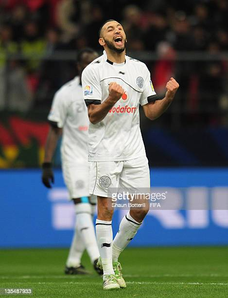 Nadir Belhadj of AlSadd Sports Club celebrates at the end of the FIFA Club World Cup Quarter Final match between Esperance Sportive De Tunis and...