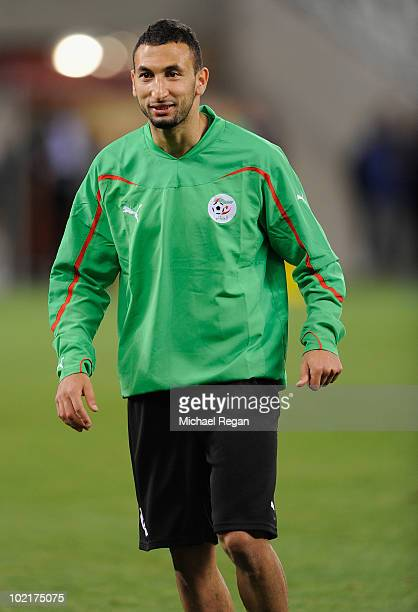 Nadir Belhadj warms up during the Algeria Training session at the Green Point Stadium on June 17 2010 in Cape Town South Africa