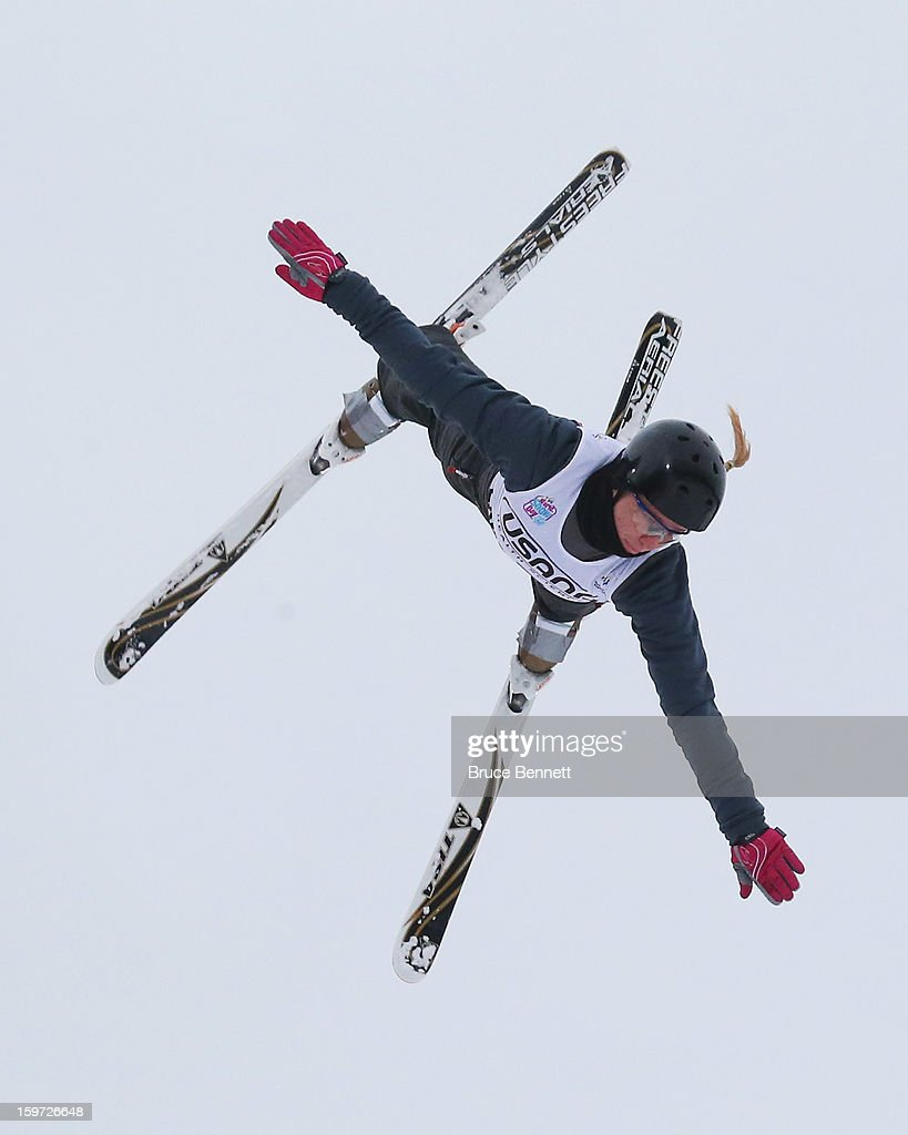 Nadiya Didenko #7 of the Ukraine jumps in the USANA Freestyle World Cup aerial competition at the Lake Placid Olympic Jumping Complex on January 19, 2013 in Lake Placid, New York.