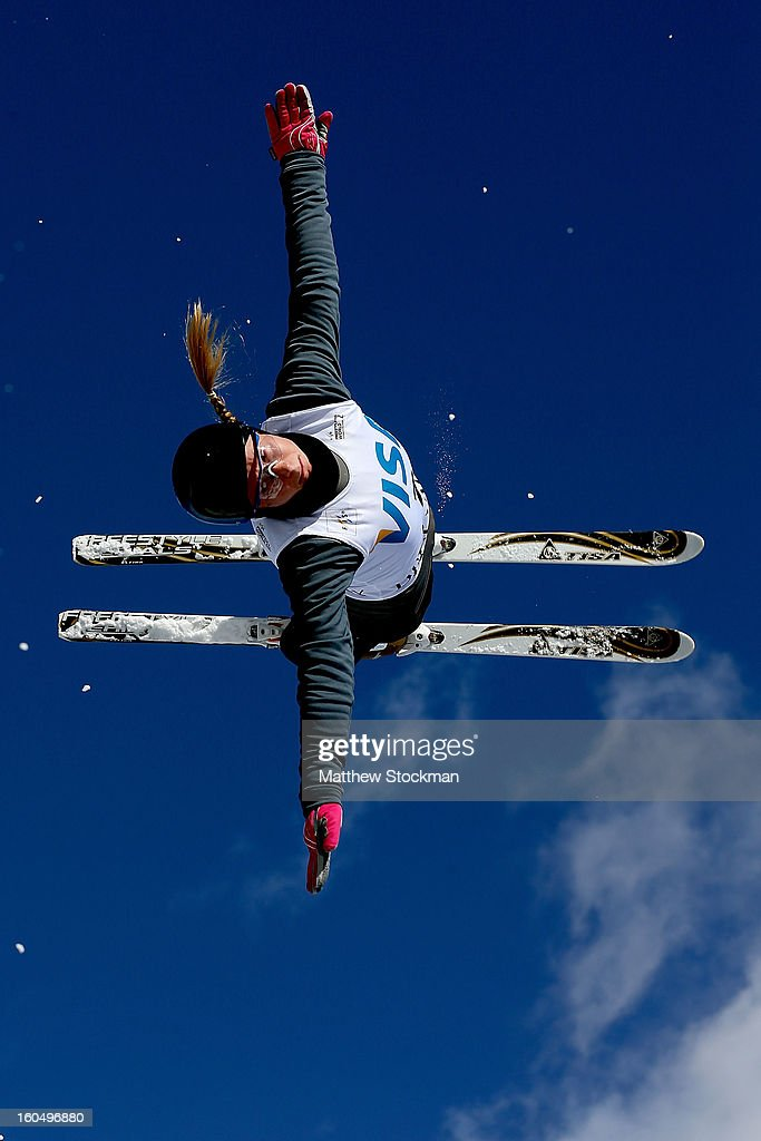 Nadiya Didenko #7 of Ukraine jumps while training for the Ladies Aerials during the Visa Freestyle International at Deer Valley on February 1, 2013 in Park City, Utah.