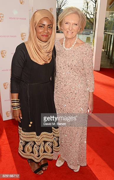 Nadiya Hussain and Mary Berry attend the House Of Fraser British Academy Television Awards 2016 at the Royal Festival Hall on May 8 2016 in London...