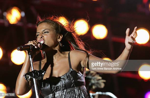 Nadiya performs at the France 2 Television's 'Fete de la Musique' at the Auteuil Horse track on June 21 2008 in Paris France
