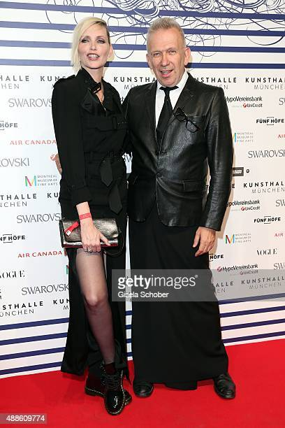 Nadja Auermann and Designer Jean Paul Gaultier during the opening of the exhibition Jean Paul Gaultier 'From The Sidewalk To The Catwalk' at...