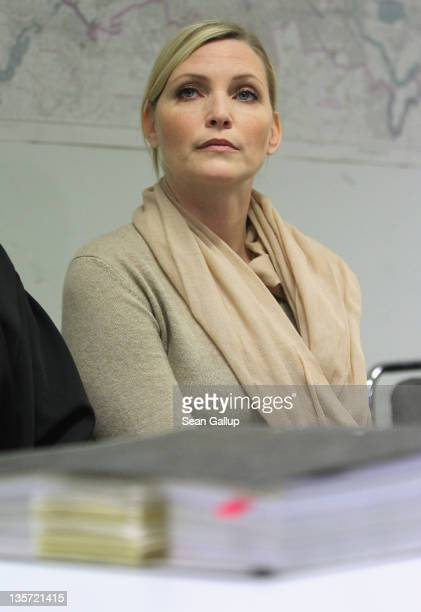 Nadja Auermann arrives for what was scheduled to be a verdict in charges of tax evasion against her at the Amtsgericht Tiergarten court on December...