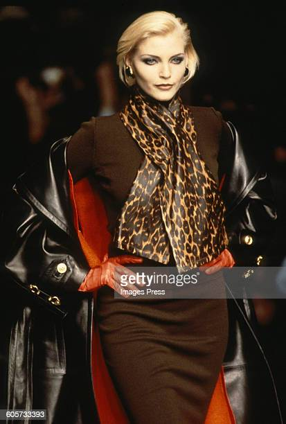 Nadja Auermann at the Christian Dior Fall 1995 show circa 1995 in Paris France