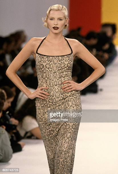 Nadja Auermann at the Todd Oldham Spring 1995 show circa 1994 in New York City