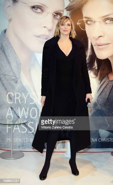 Nadja Auermann attends the Silhouette Crystal Collection Launch on March 4 2011 in Milan Italy