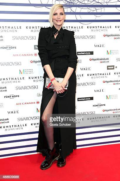 Nadja Auermann during the opening of the exhibition Jean Paul Gaultier 'From The Sidewalk To The Catwalk' at Kunsthalle on September 16 2015 in...