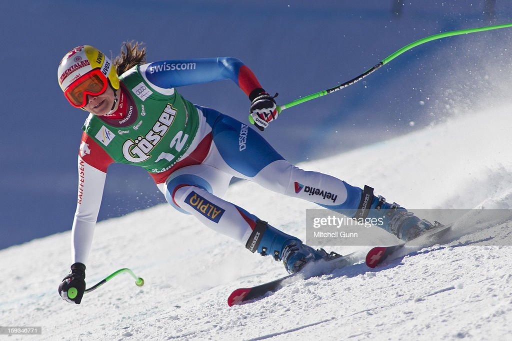 Nadja Kamer of Switzerland races down the Kandahar course while competing in the Audi FIS Alpine Ski World Cup downhill race on January 12, 2013 in St Anton, Austria.