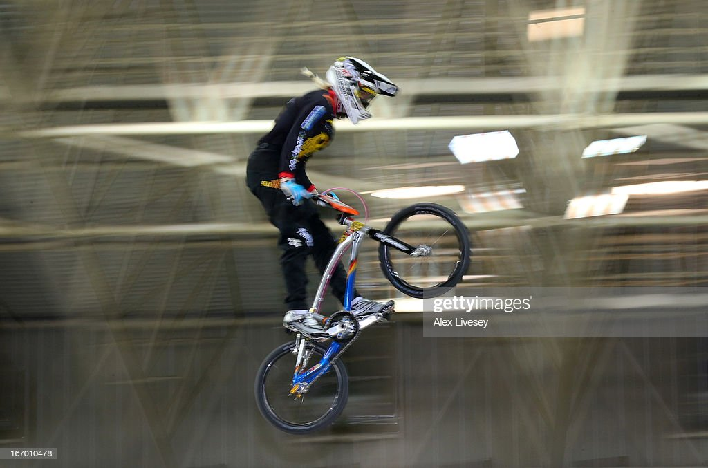 Nadja Pries of Germany takes the first jump during the Women's Elite Time trials Superfinal in the UCI BMX Supercross World Cup at National Cycling Centre on April 19, 2013 in Manchester, England.