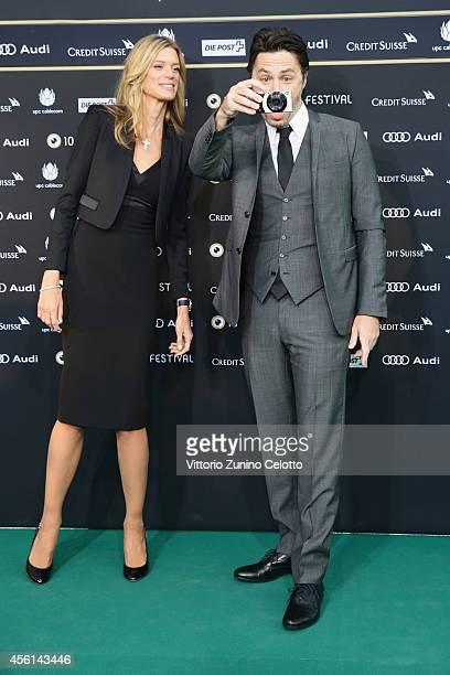 Nadja Schildknecht and Zach Braff attend the Career Achievement Award Arrivals during Day 2 of Zurich Film Festival 2014 on September 26 2014 in...