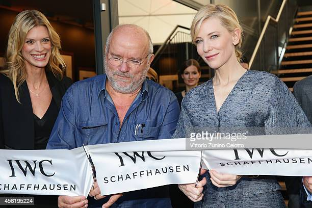 Nadja Schildknecht Peter Lindbergh and Cate Blanchett attend the IWC Photo Exhibition Opening during Day 3 of Zurich Film Festival 2014 on September...
