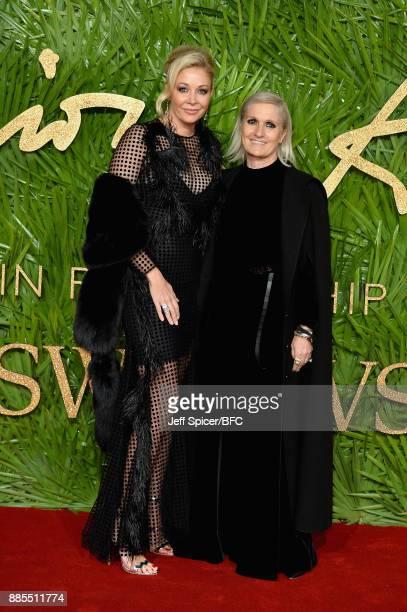 Nadja Swarovski and Maria Grazia Chiuri attend The Fashion Awards 2017 in partnership with Swarovski at Royal Albert Hall on December 4 2017 in...